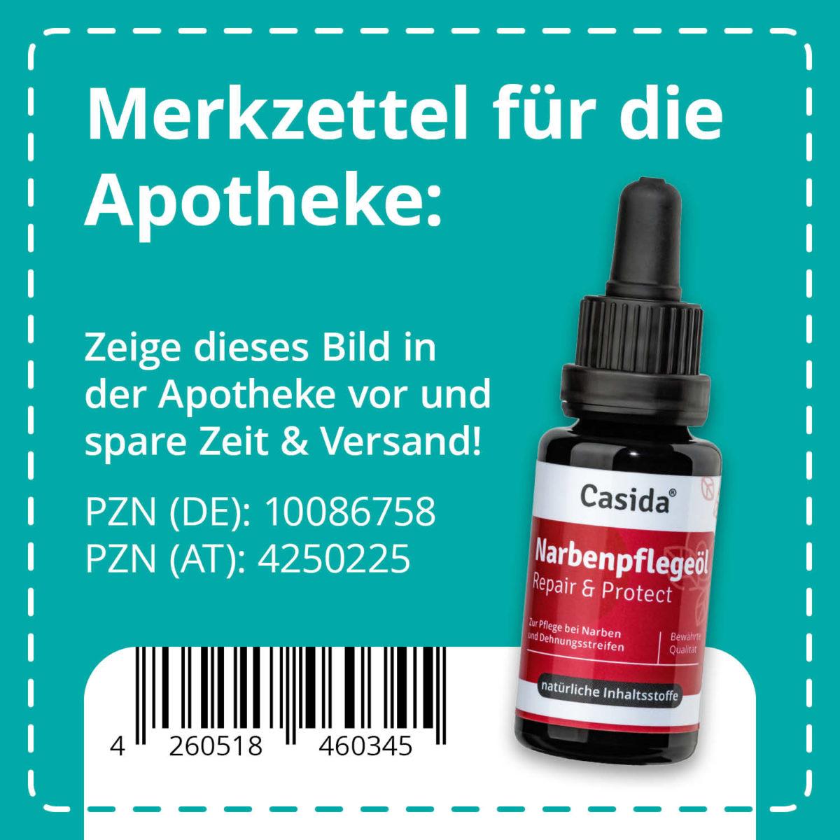 Casida Narbenpflegeöl Repair & Protect – 20 ml 10086758 PZN Apotheke Dehnungsstreifen verhindern vorbeugen OP Narbe behandeln pflanzlich9
