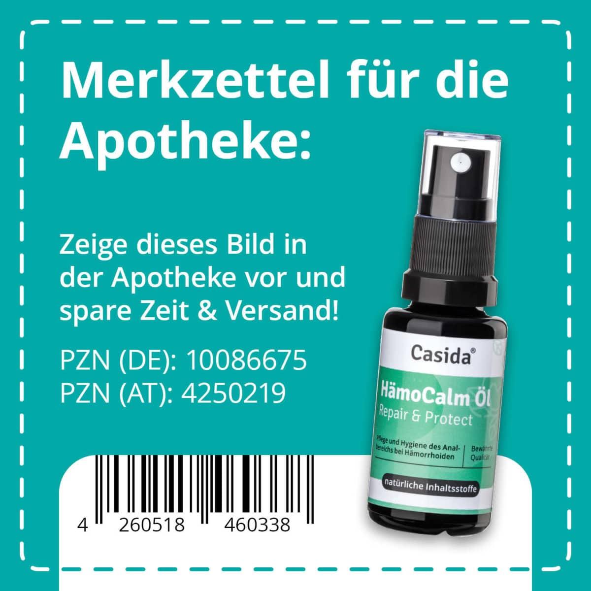 Casida HämoCalm Repair & Protect – 20 ml 10086675 PZN Apotheke hämorrhoiden hämmoritten hemoriden9