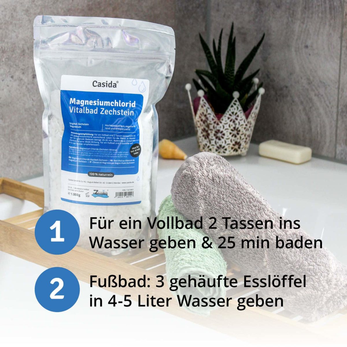 Casida Magnesiumchlorid Vitalbad Zechstein 1,0 kg 11615851 PZN Apotheke Muskelkater Sole Vollbad Fußbad Salz6