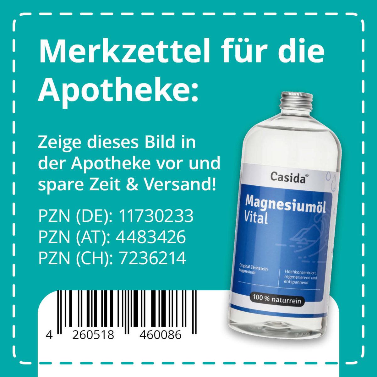 Casida Magnesiumöl Vital Zechstein 1000 ml 11730233 PZN Apotheke Nachfüllflasche Sport9