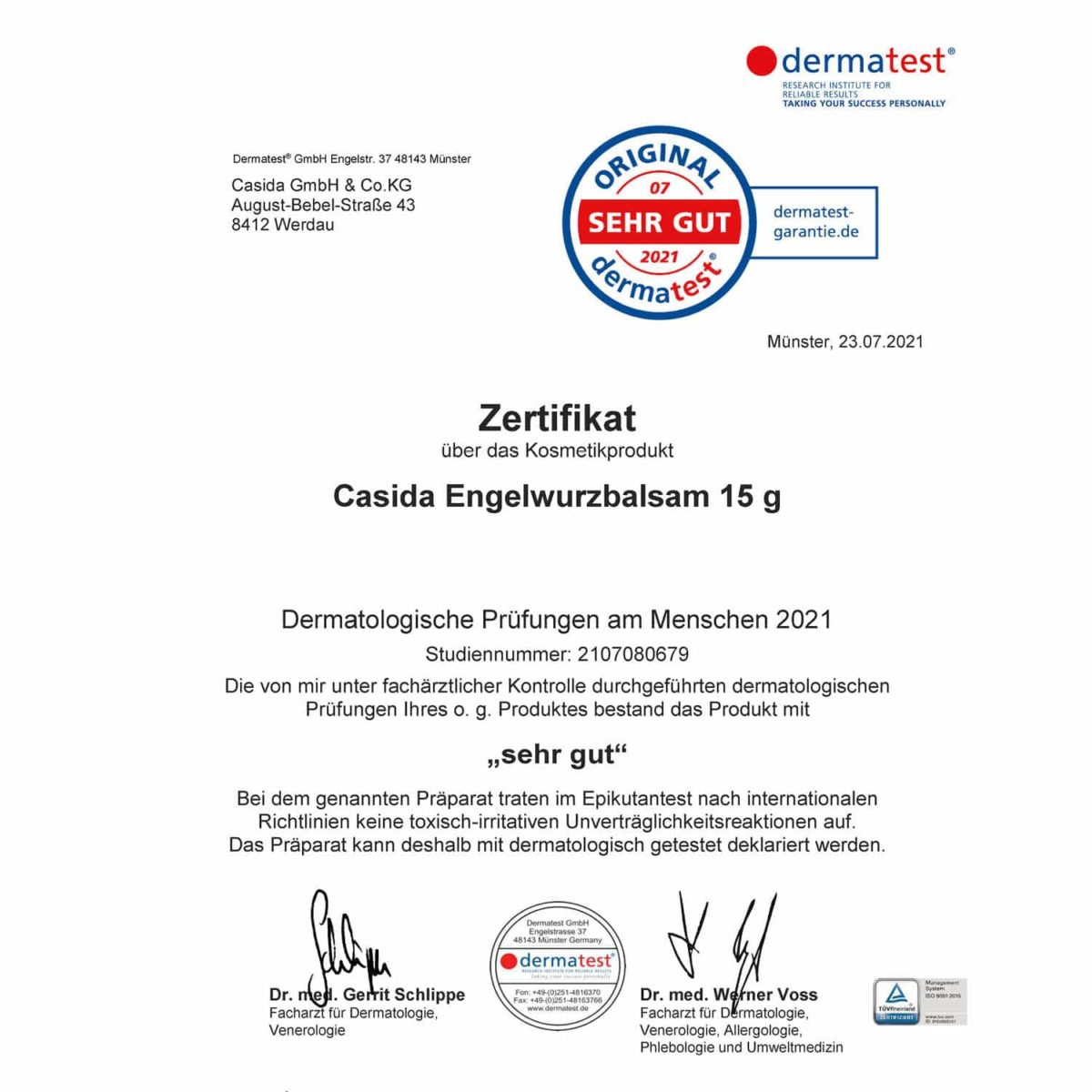 Casida Dermatest certificate angelica balm organic