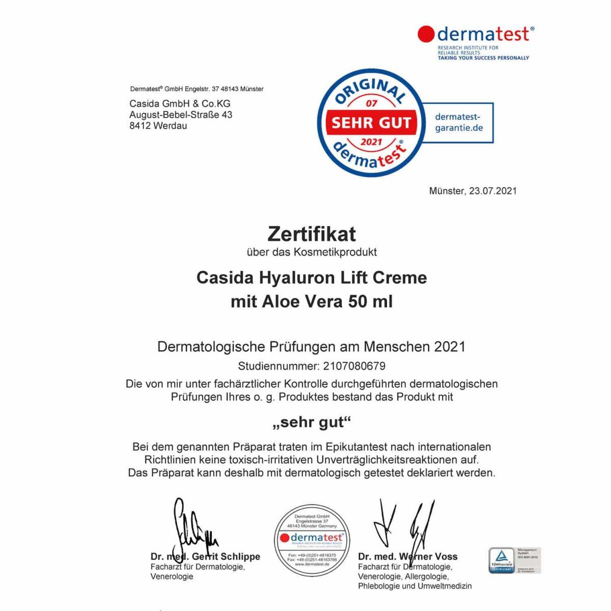 Casida Dermatest Zertifikat Hyaluron Lift Creme