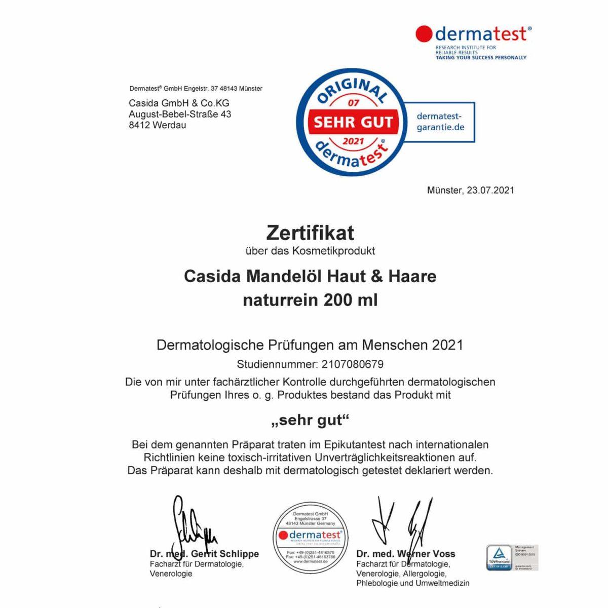 Casida Dermatest Zertifikat Mandelöl Bio Babyöl