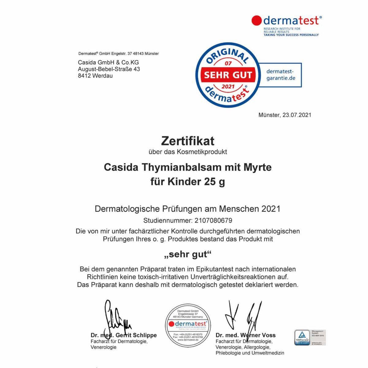 Casida Dermatest Zertifikat Thymianbalsam mit Myrte Kinder Bio