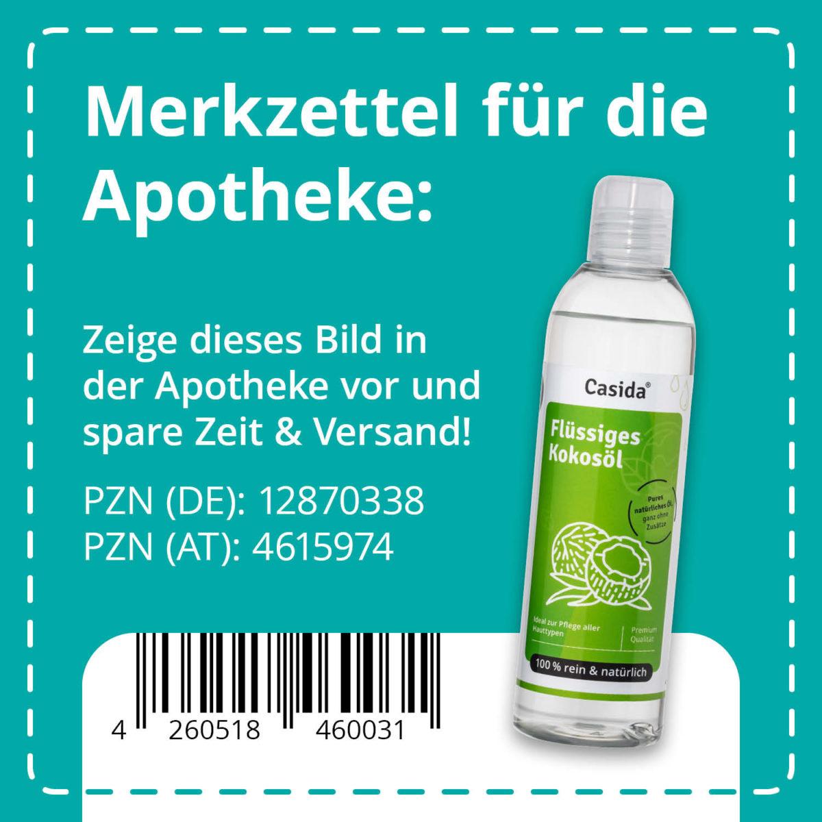 Casida Kokosöl flüssig pur & natürlich – 250 ml 12870338 PZN Apotheke Trägeröl Ätherische Öle mischen fraktioniert9