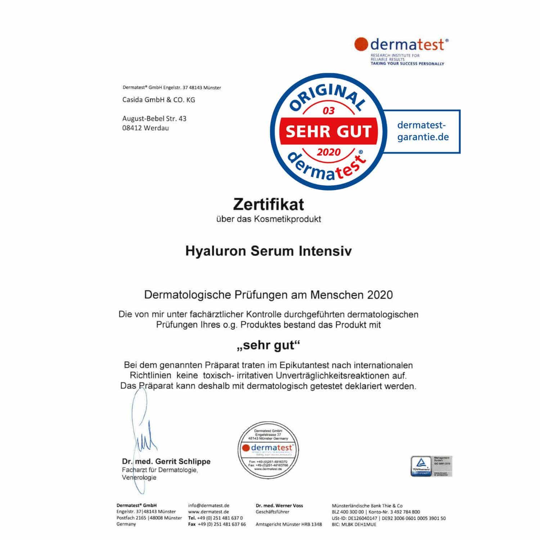 Casida Hyaluron Serum Intensiv – 30 ml 14044030 PZN Apotheke Dermatest Zertifikat