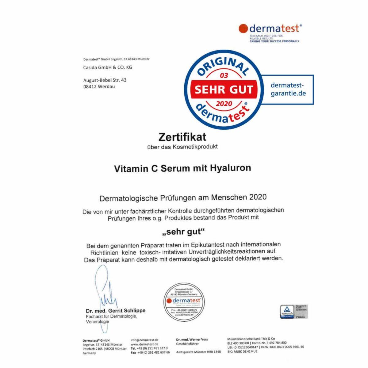 Casida Vitamin C Serum + Hyaluron – 30 ml 14044053 PZN Apotheke Antioxidantien Anti-Aging a (8)