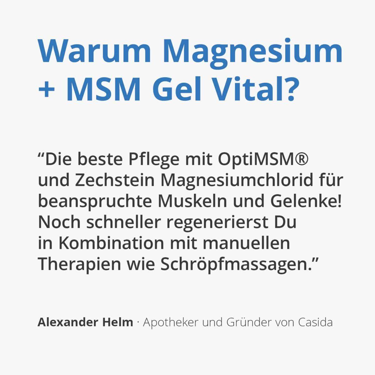 Casida Magnesium + MSM Gel Vital 200 ml 14371869 PZN Apotheke OptiMSM Zechstein Schröpfen manuelle therapie Zechstein Massage Sport (1)2