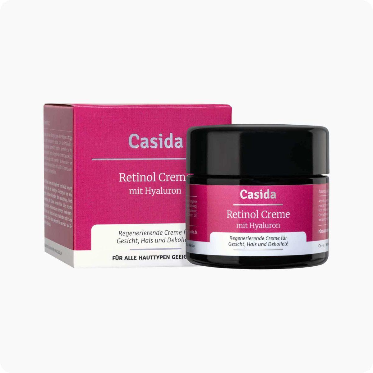 Casida Retinol Creme + Hyaluron 50 ml PZN DE 15408244 PZN AT 5081658 PZN CH 7779585 UVP 24,95 € EAN 4260518460376 Apotheke