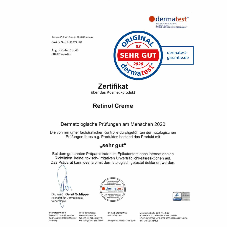 Casida Retinol Creme mit Hyaluron – 50 ml 15408244 PZN Apotheke Gesichtspflege Creme Dermatest Zertifikat