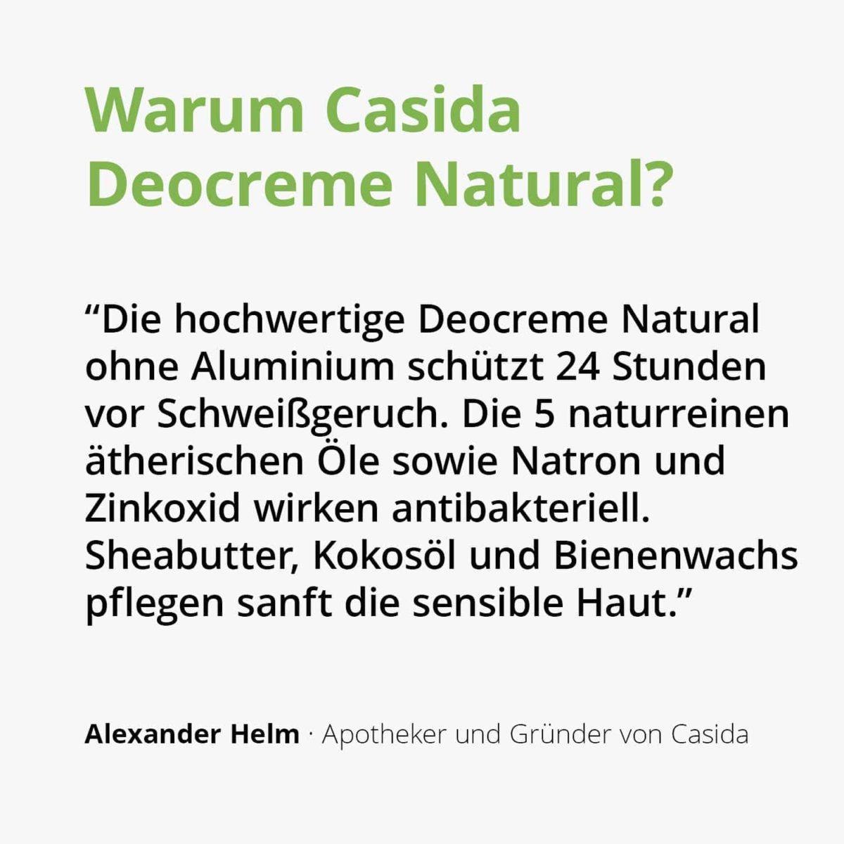 Casida Deocreme ohne Aluminium Natural 15586402 PZN Apotheke Achselschweiß Körpergeruch Deo Natron2