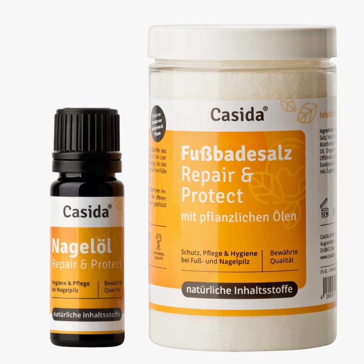 Casida Product Combo Nail Oil and Foot Bath Salt Bundle PZN 10022445 12907018 Nagelpilz bekämpfen pflanzlich Fußpilz