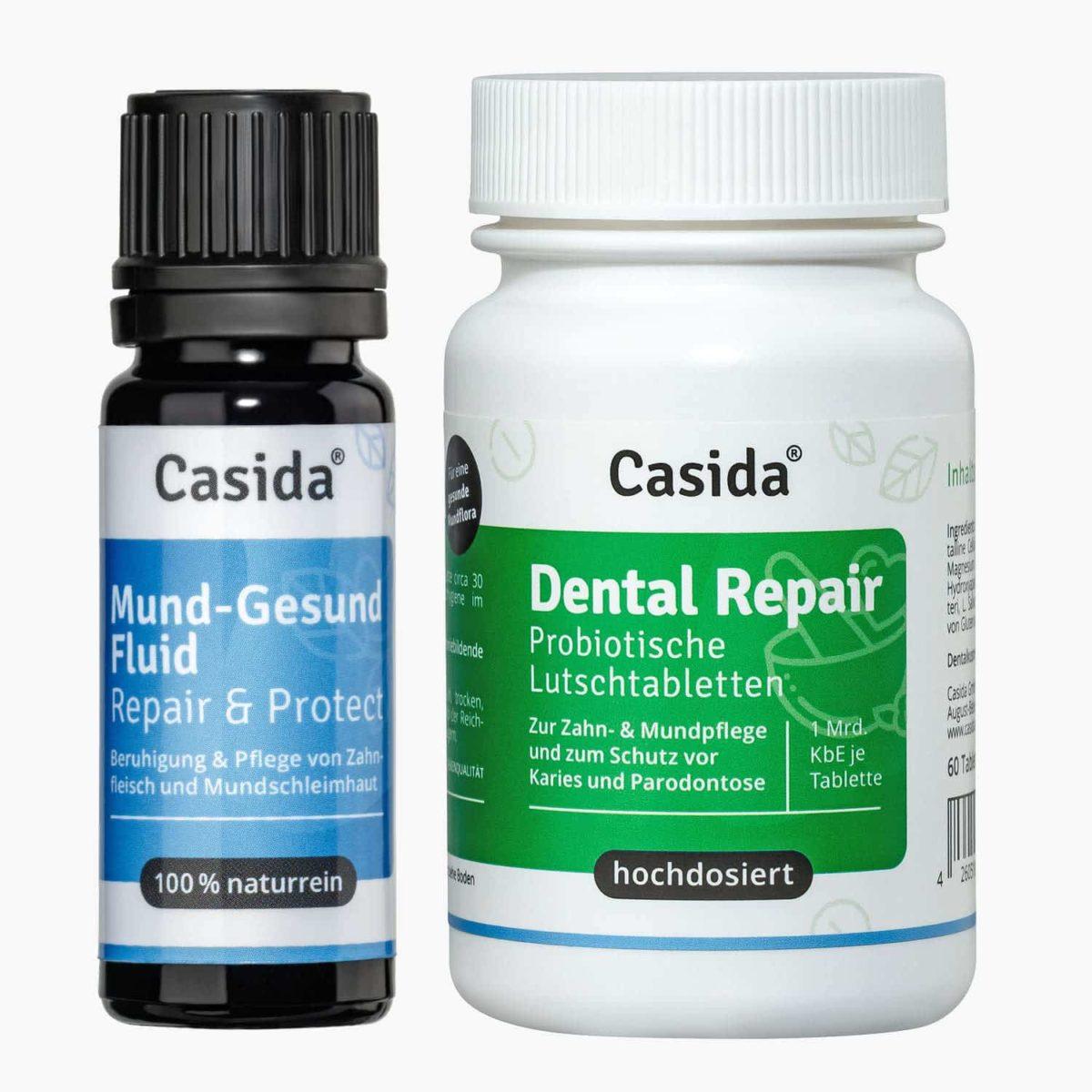 Casida Set PZN 10086681 14401553 Apotheke Dental Repair Mund-Gesund Fluid Rabatt Bundle Ätherische Öle pflanzlich Natürlich Zahnfleisch Mundflora Probiotika