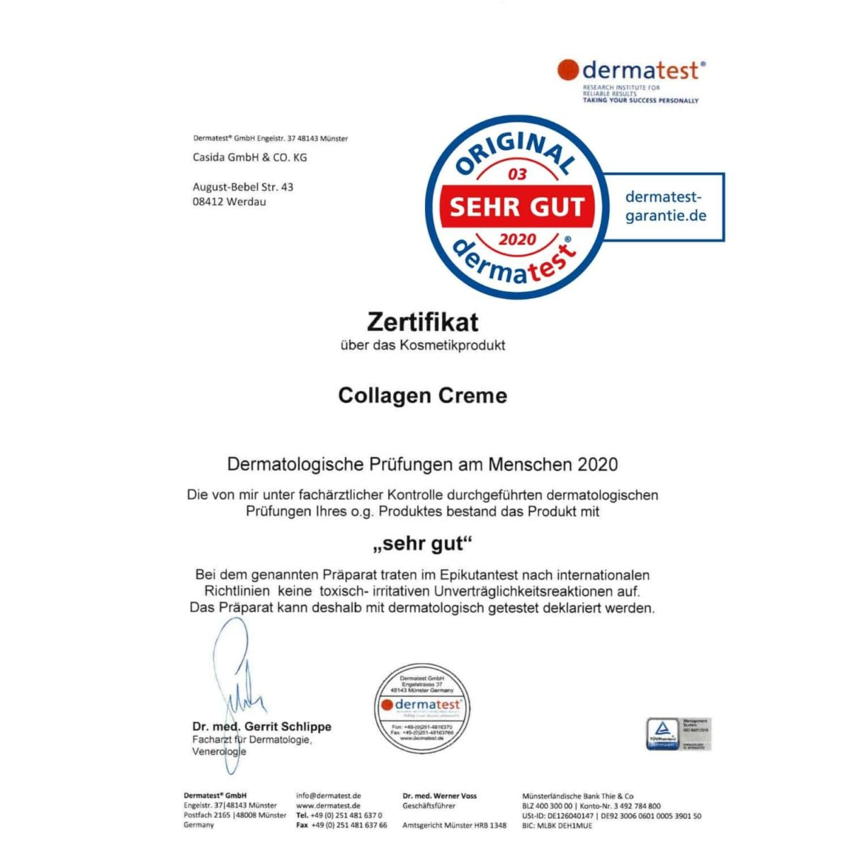 Dermatest Testsieger Casida Collagen Creme mit Hyaluron Apotheke PZN 15408250