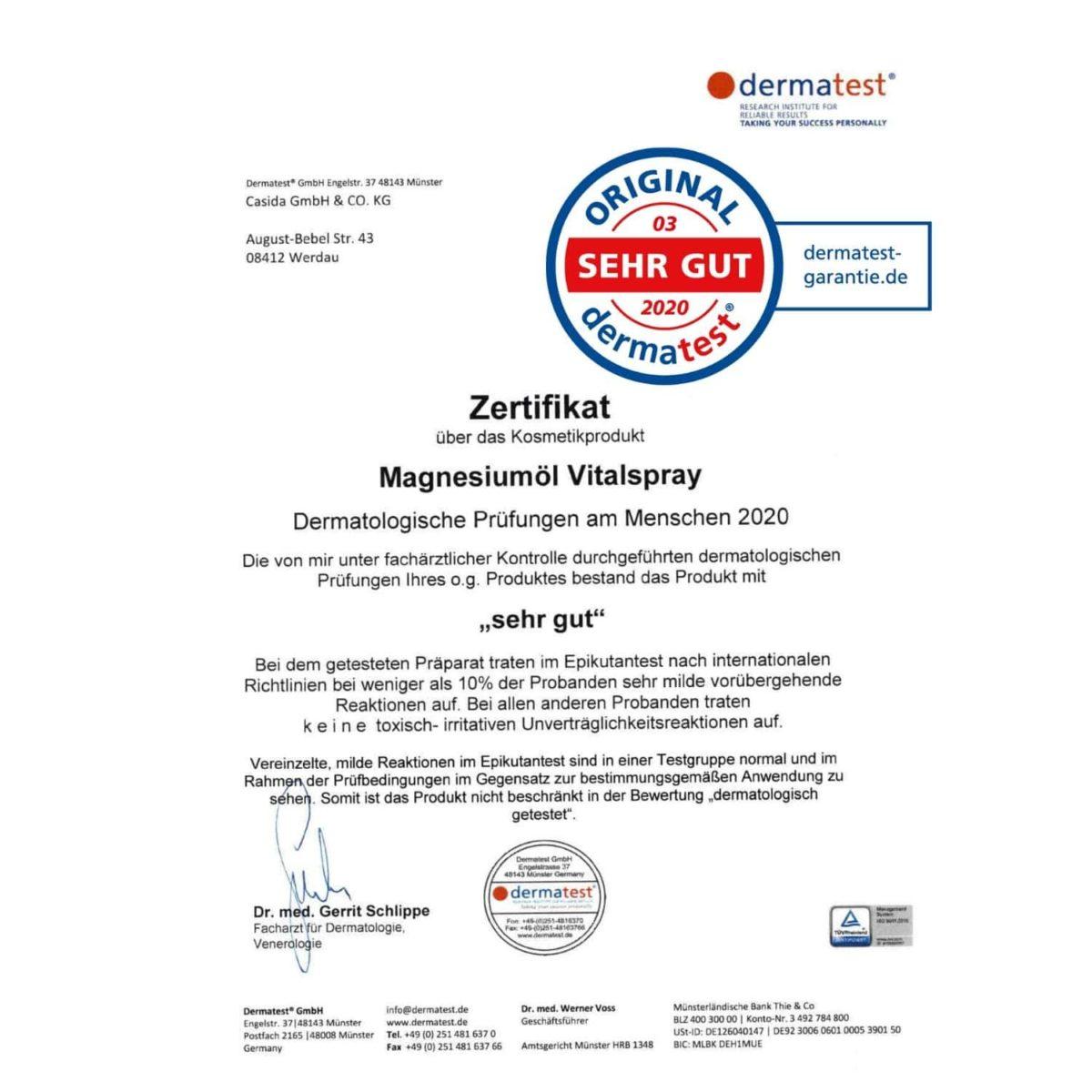 Dermatest Testsieger Casida Magnesiumöl Vitalspray Apotheke PZN 11219463