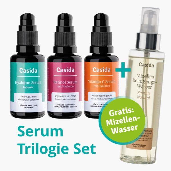 Serum Trilogie – Beauty Set mit Retinolserum Hyaluronserum Vitamin C Serum und Gratis Mizellenwasser Anti-Aging 2a