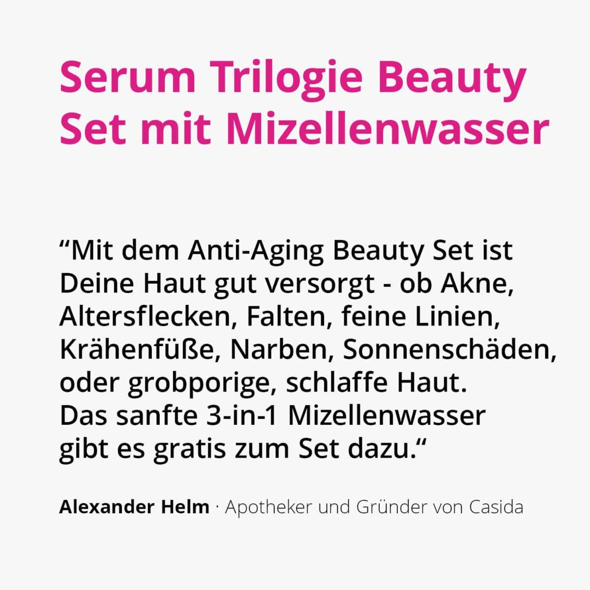 Serum Trilogie – Beauty Set mit Retinolserum Hyaluronserum Vitamin C Serum und Gratis Mizellenwasser Anti-Aging2