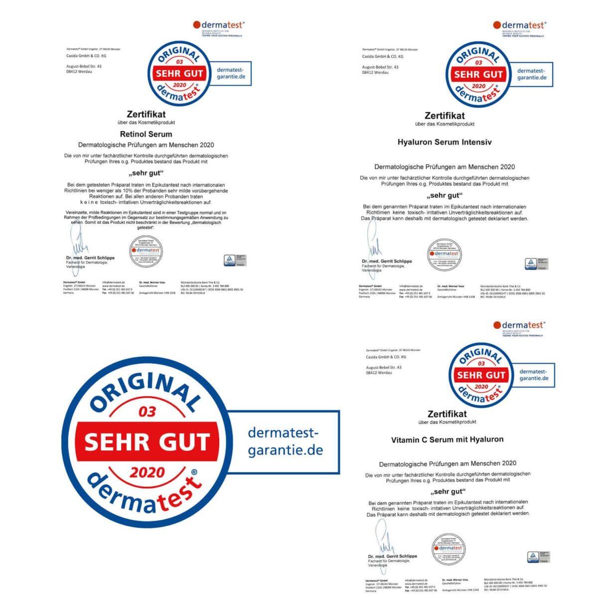 Serum Trilogie – Beauty Set mit Retinolserum Hyaluronserum Vitamin C Serum und Gratis Mizellenwasser Anti-Aging8