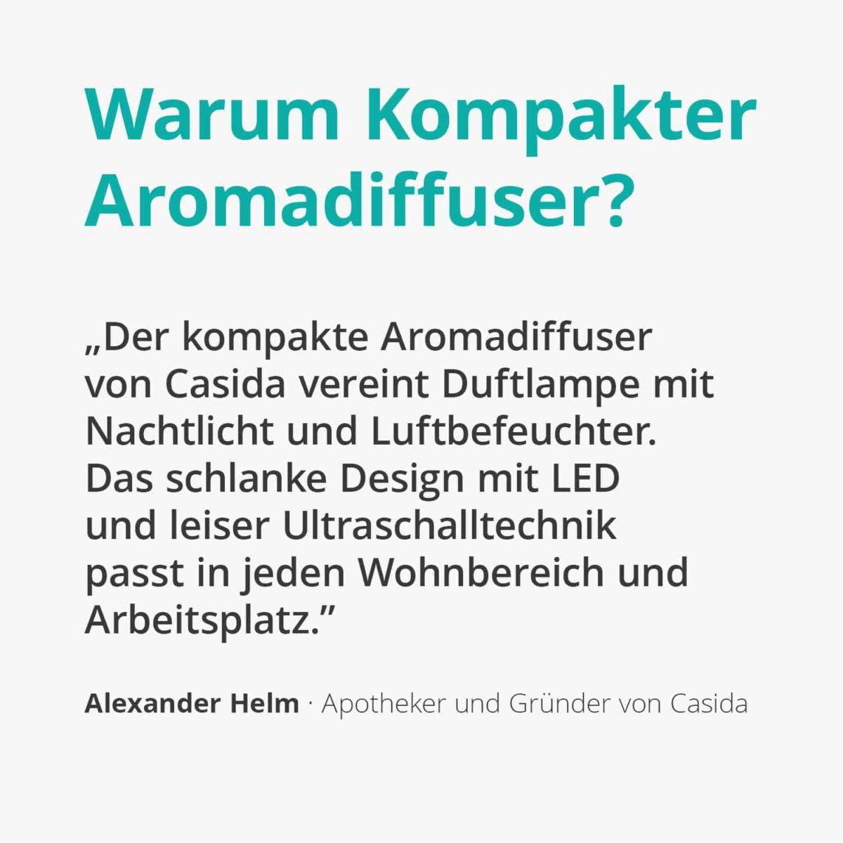 Casida Aroma Diffuser kompakt weiß Apotheke PZN 16351150 Aromatherapie Ätherische Öle vernebeln Lufterfrischer mobil2