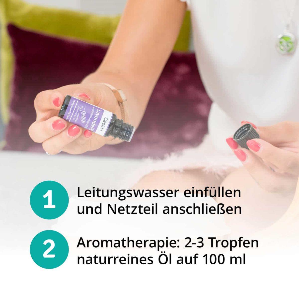 Casida Aroma Diffuser kompakt weiß Apotheke PZN 16351150 Aromatherapie Ätherische Öle vernebeln Lufterfrischer mobil6