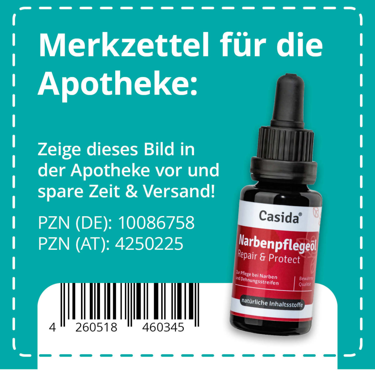 Casida Narbenpflegeöl Repair & Protect – 20 ml 10086758 PZN Apotheke Akne alte Aknenarben behandeln Gesicht Körper pflanzlich (1)9