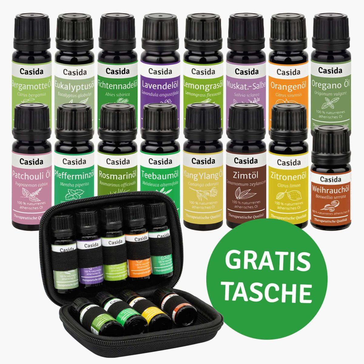 Casida TOP 16 Ätherische Öle Set mit Tasche Lavendelöl Orangenöl Weihrauchöl Bergamotte Oregano Patchouli Ylang Ylang Zimtöl naturrein