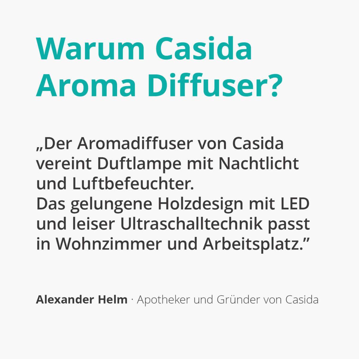 Casida Aroma Diffuser wood print design LED illumination 15880805 PZN Apotheke ätherische Öle Vernebler Aromatherapie