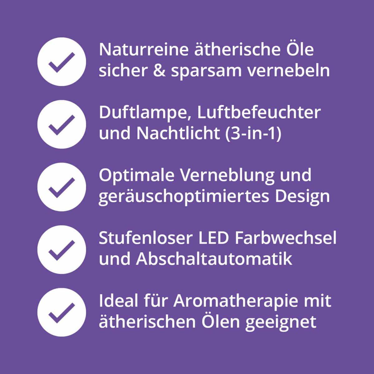 Casida Aroma Diffuser Ceramic Black with LED-lights ätherische Öle Vernebler Aromatherapie leise 20 db Schlafzimmer7