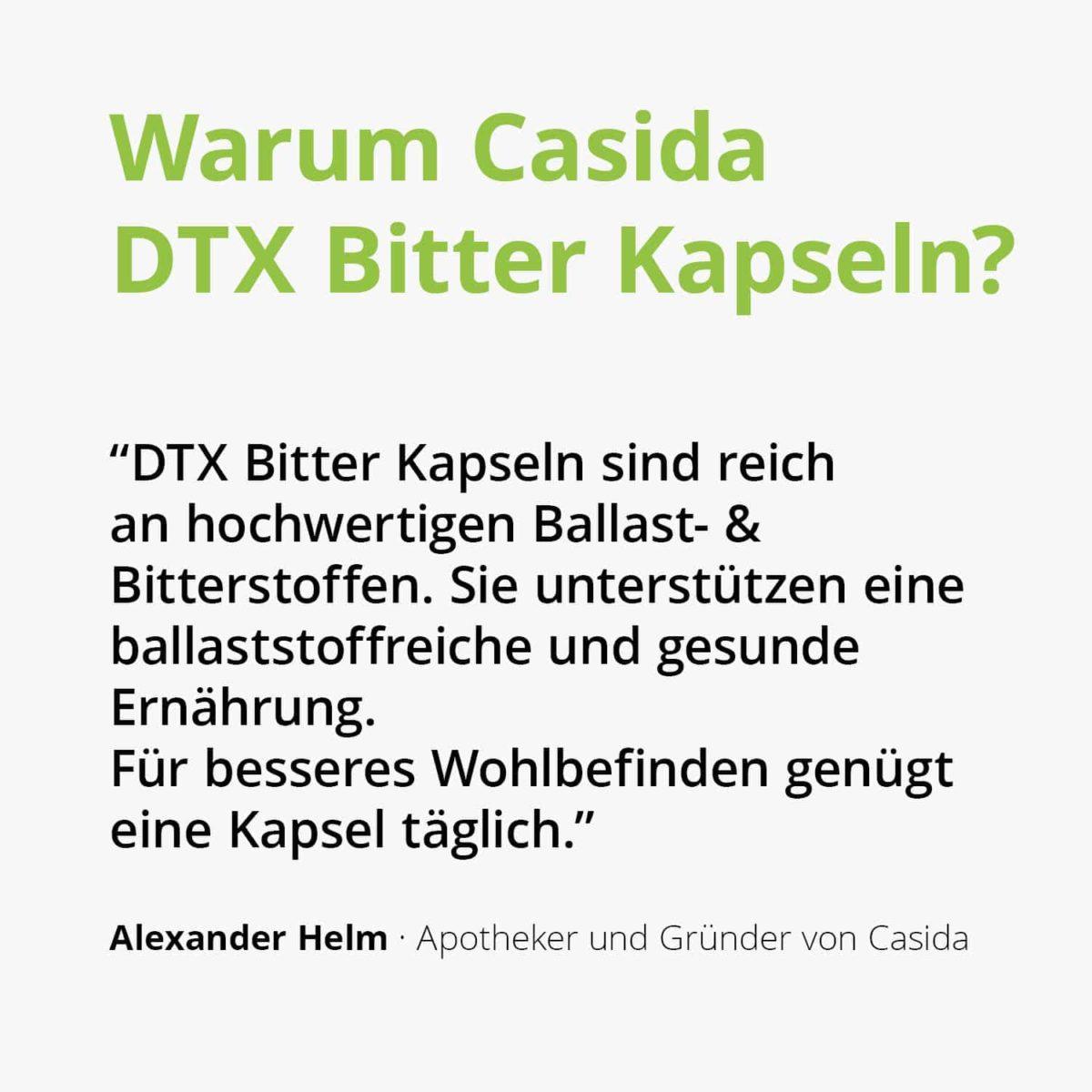 Casida DTX Bitter Kapseln 60 Stück PZN 17175086 Apotheke Flohsamen, Grüner Tee Extrakt, Leinsamen, Löwenzahnwurzel Darm Leber Galle2