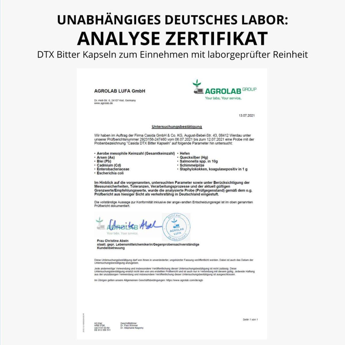 Casida DTX Bitter Kapseln 60 Stück PZN 17175086 Agrolab Zertifikat