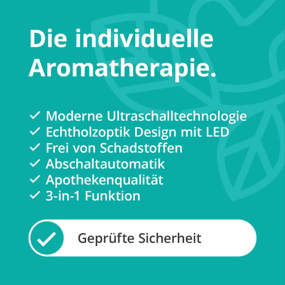 Casida Aroma Diffuser White Hood Wood Print LED-illumination 17179347 PZN Apotheke ätherische Öle Vernebler Aromatherapie Schule Büro Kita5
