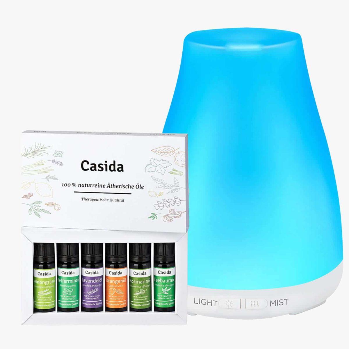 Casida Set Aroma Diffuser weiß mit Top 6 Ätherische Öle Set Lavendel, Teebaum, Pfefferminze, Orange, Rosmarin, Lemongras Luftbefeuchter LED