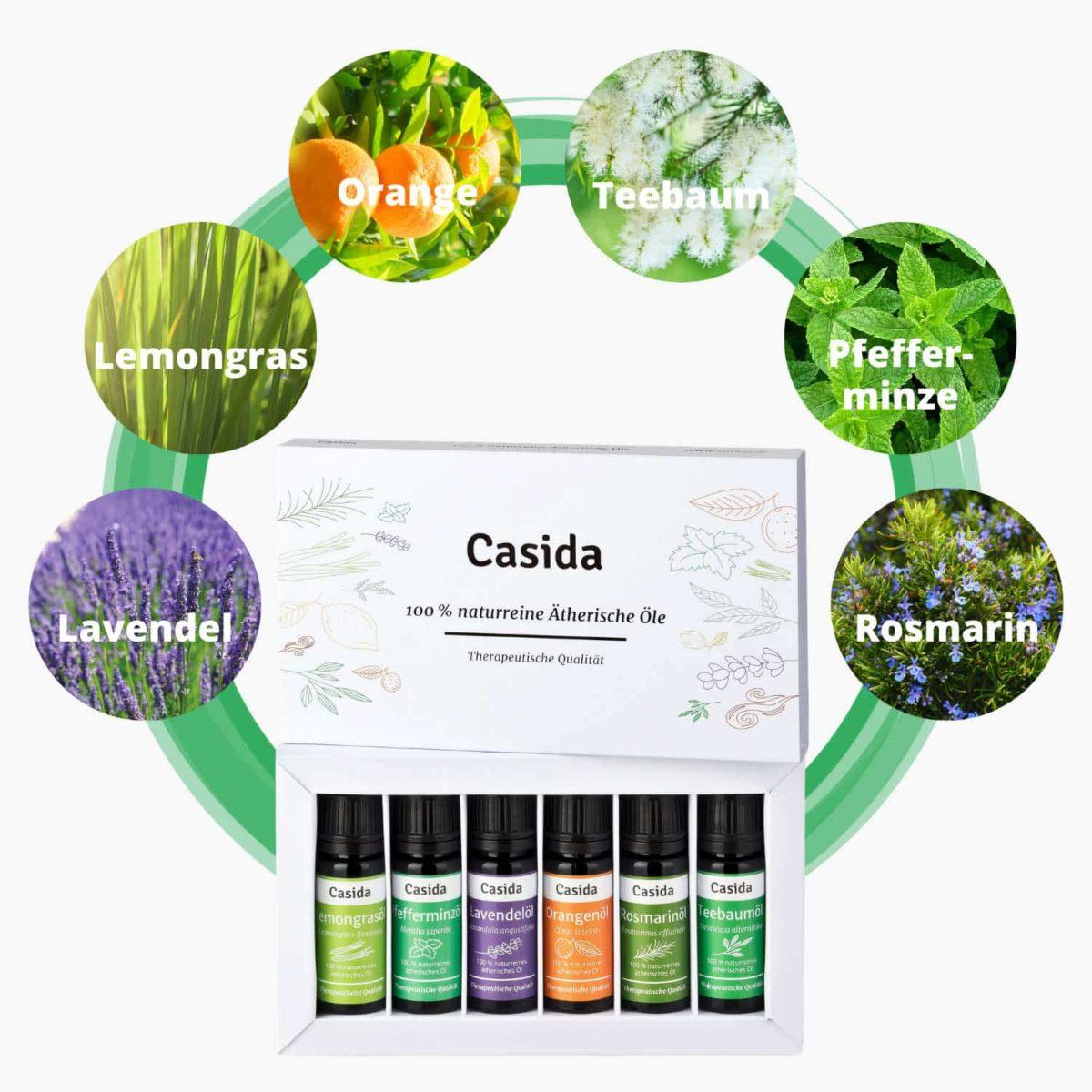 Casida Set Aroma Diffuser weiß mit Top 6 Ätherische Öle Set Lavendel, Teebaum, Pfefferminze, Orange, Rosmarin, Lemongras Luftbefeuchter LED9