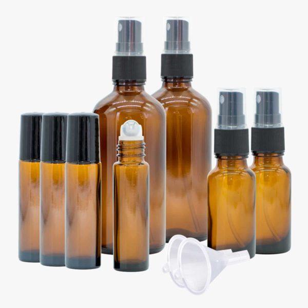 Casida Aromatherapie Einsteiger Set A3230241 Roll On Sprühflasche 10 ml 20 ml 100 ml ätherische Öle Braunglas