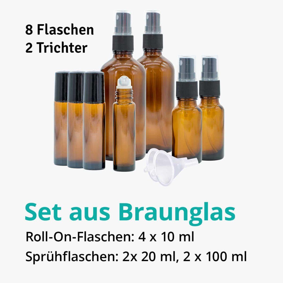 Casida Aromatherapie Einsteiger Set A3230241 Roll On Sprühflasche 10 ml 20 ml 100 ml ätherische Öle Braunglas3