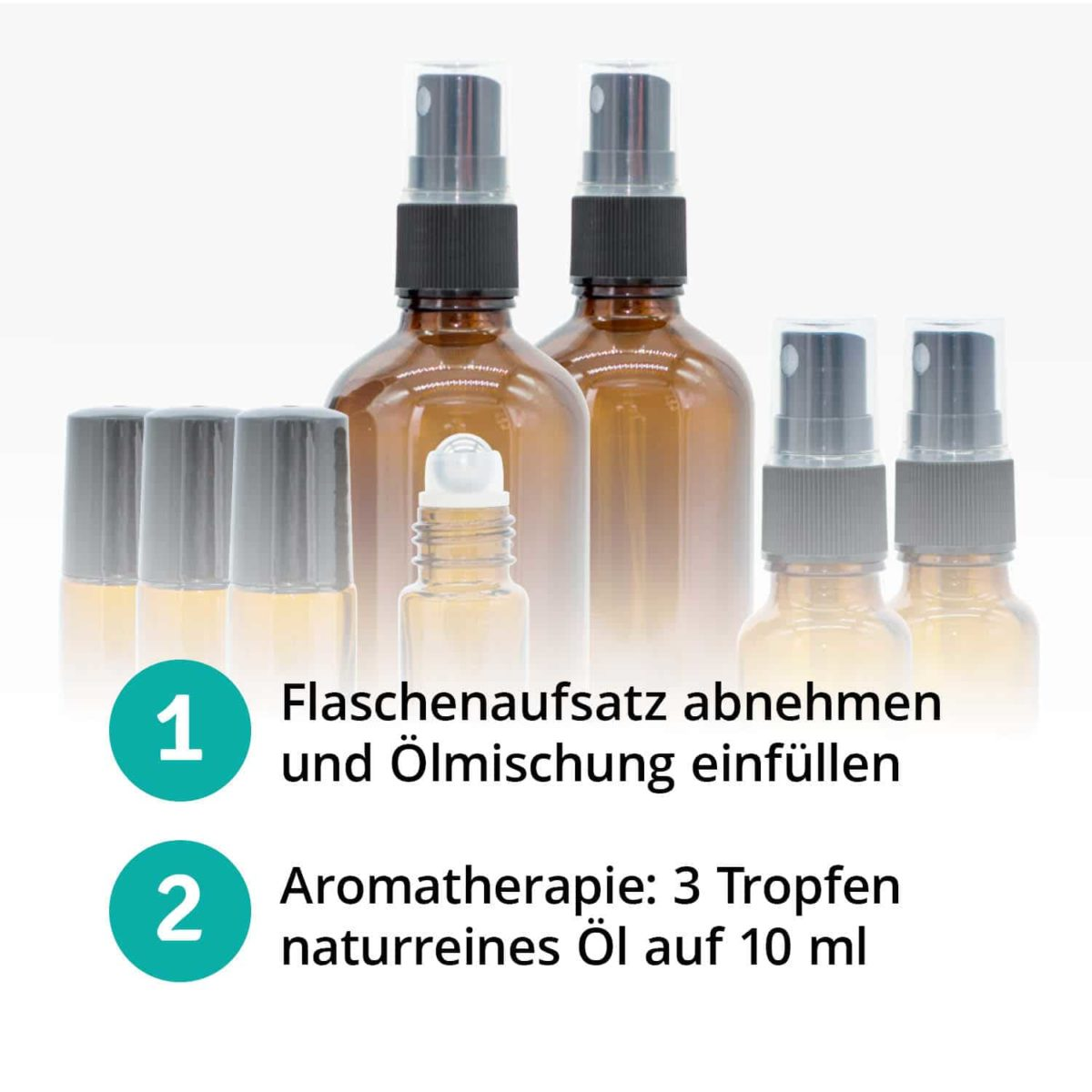 Casida Aromatherapie Einsteiger Set A3230241 Roll On Sprühflasche 10 ml 20 ml 100 ml ätherische Öle Braunglas6