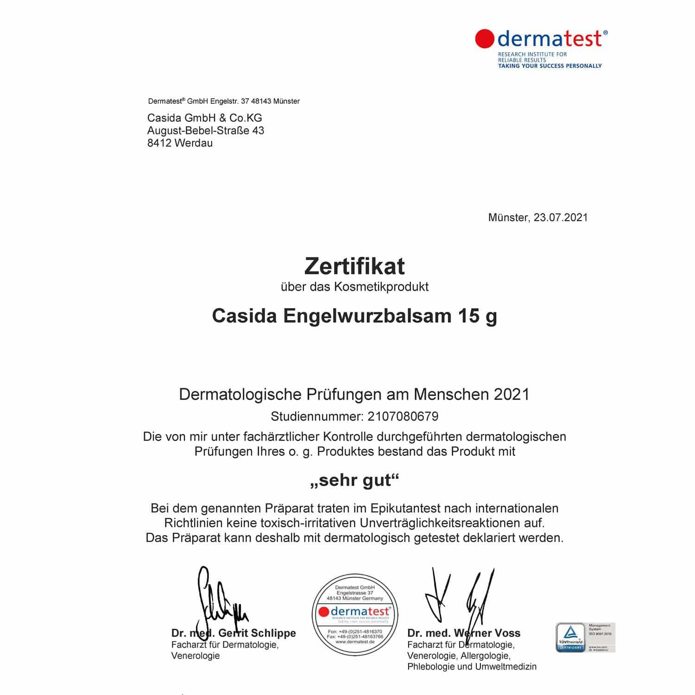 Casida Dermatest Zertifikat Engelwurzbalsam Bio