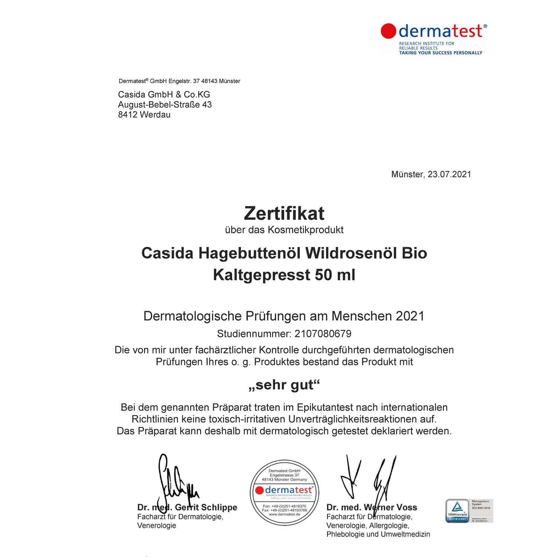 Casida Dermatest Zertifikat Hagebuttenöl Wildrosenöl Bio