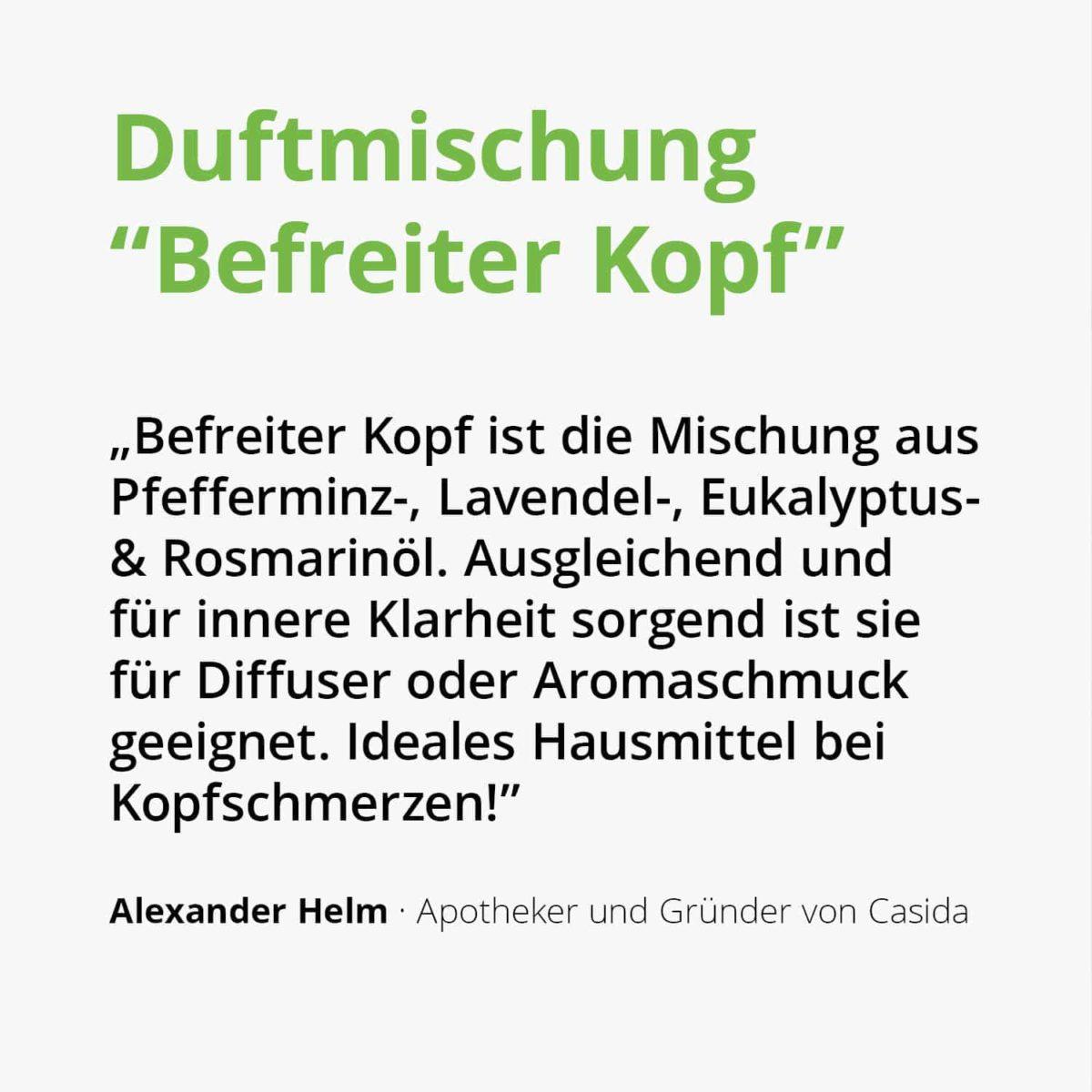 Casida Duftmischung Befreiter Kopf - 5 ml 17394523 PZN Apotheke Kopfschmerzen Aromatherapie Aromapflege Aromaschmuck Diffuser2