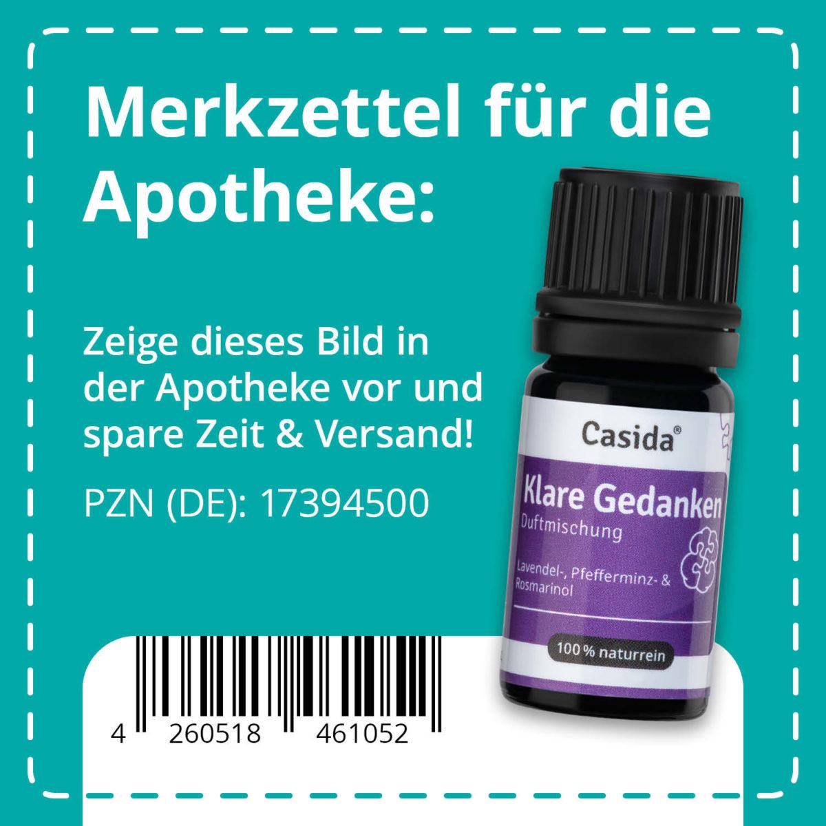 Casida Duftmischung Klare Gedanken - 5 ml 17394500 PZN Apotheke EAN 4260518461052