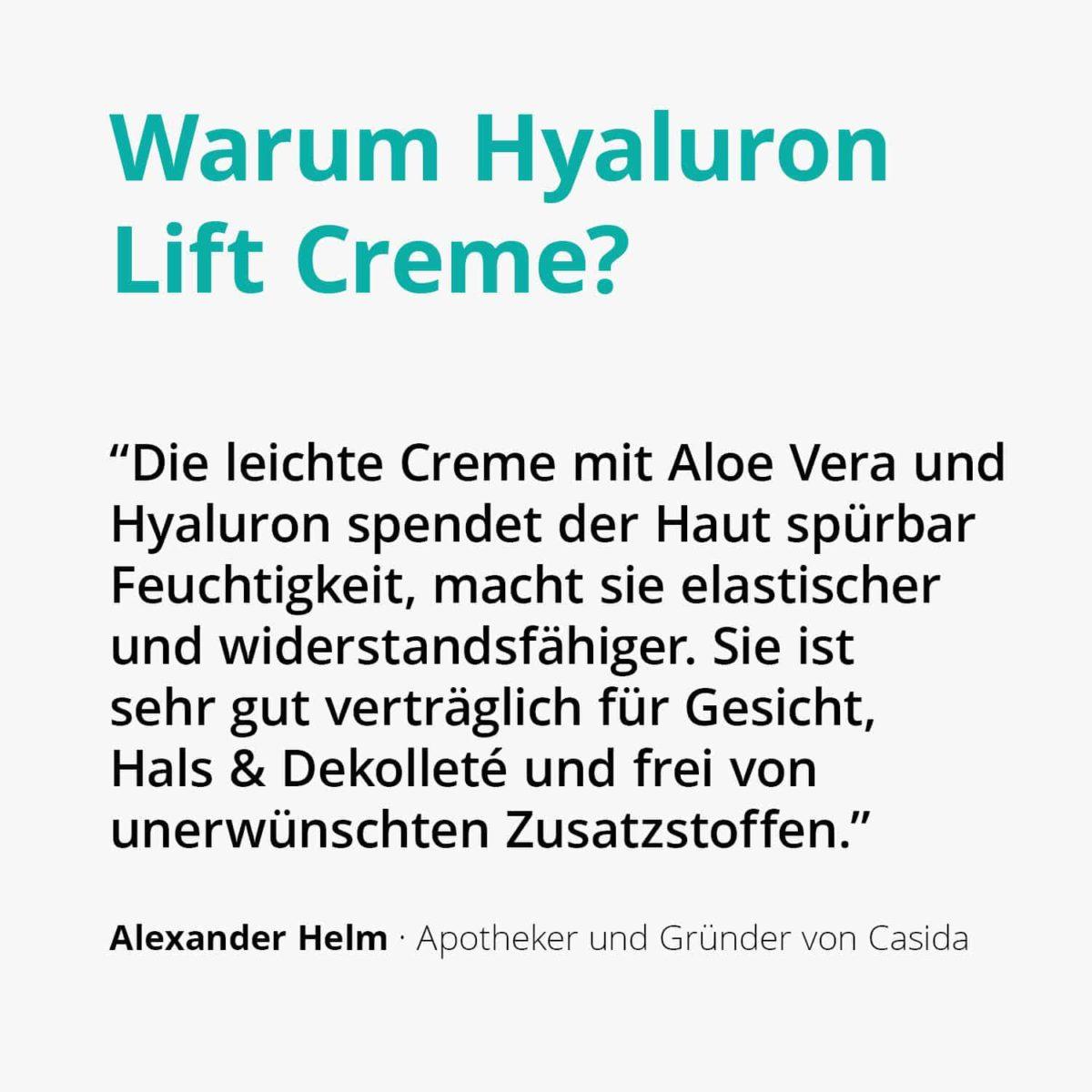 Casida Hyaluronic Acid Lift Cream with Aloe Vera 50 ml 16813082 PZN Apotheke Sommercreme Hyaluronsäure nicht-komedogen2