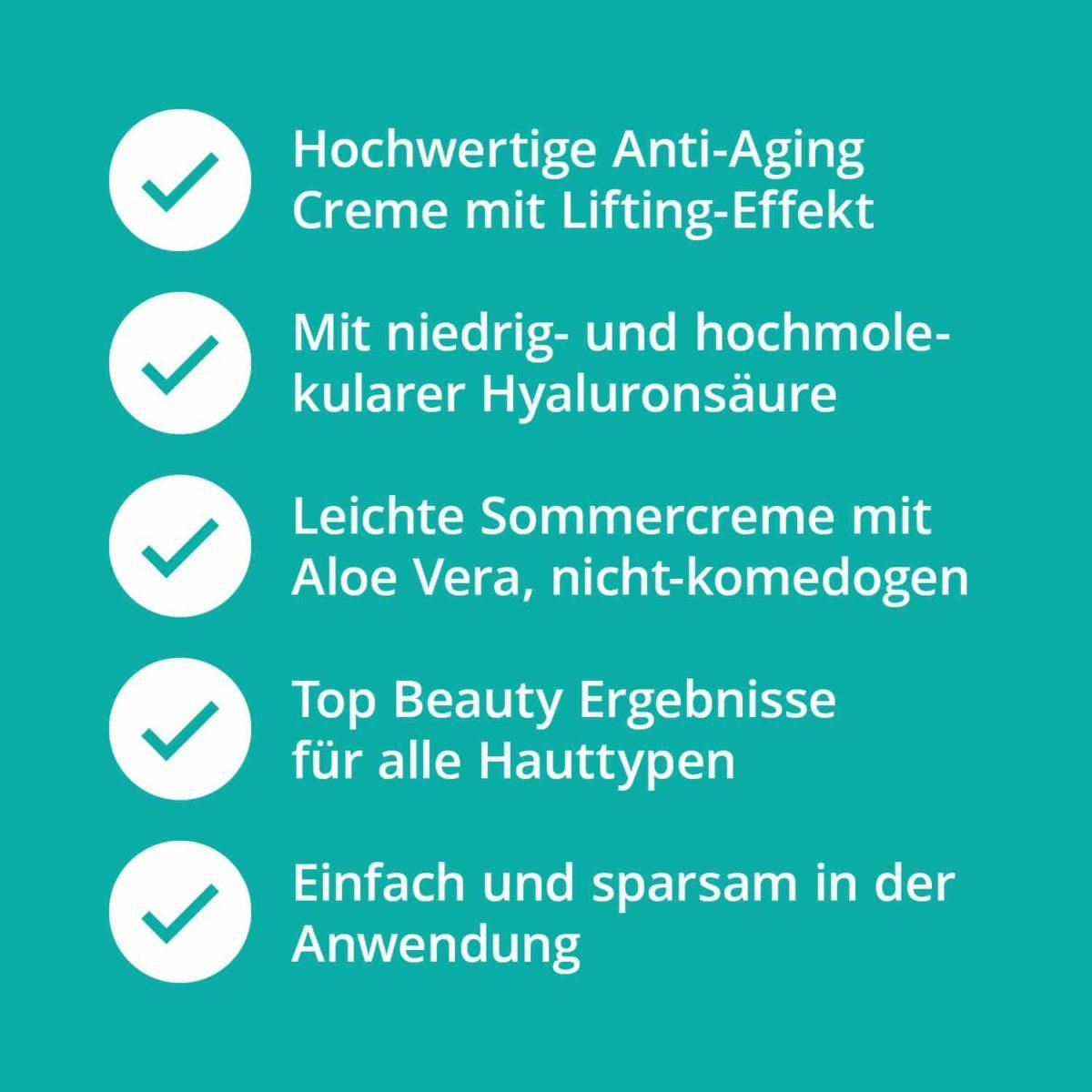 Casida Hyaluronic Acid Lift Cream with Aloe Vera 50 ml 16813082 PZN Apotheke Sommercreme Hyaluronsäure nicht-komedogen7