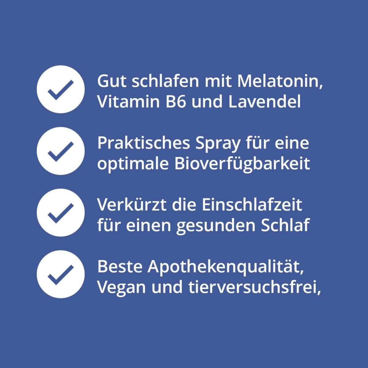 Casida Melatonin Spray Schlaf schön - 30 ml 17203782 Apotheke Guter Schlaf Gute Nacht besser schlafen Lavendel Vitamin B2 B67