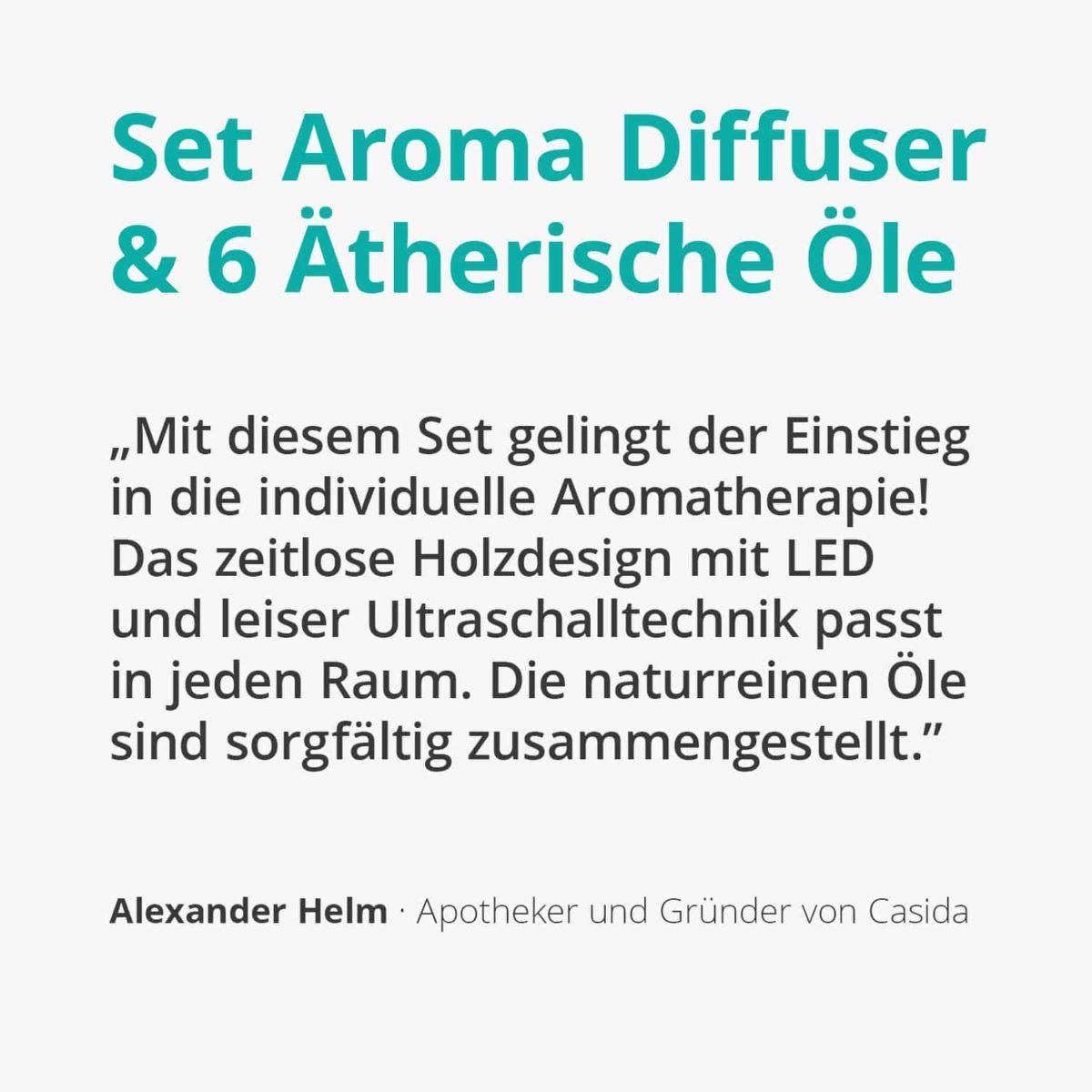 Casida Set Aroma Diffuser in wood print and TOP 6 essential oils 16247292 15880805 PZN Apotheke ätherische Öle Aromatherapie2
