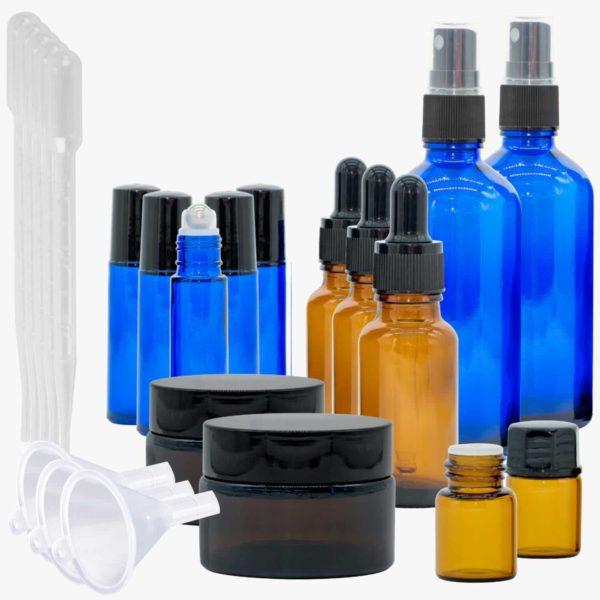 Casida Aromatherapie Profi Set A2058242 Roll On Sprühflasche 10 ml 20 ml 100 ml Tiegel Tropfflasche ätherische Öle Braunglas Blauglas