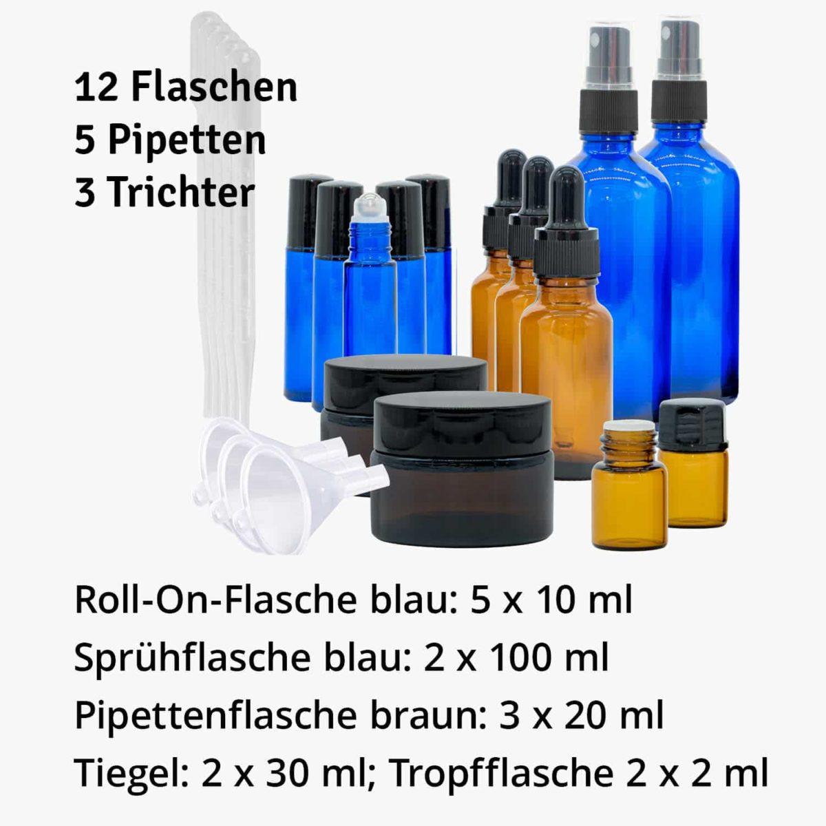Casida Aromatherapie Profi Set A2058242 Roll On Sprühflasche 10 ml 20 ml 100 ml Tiegel Tropfflasche ätherische Öle Braunglas Blauglas3