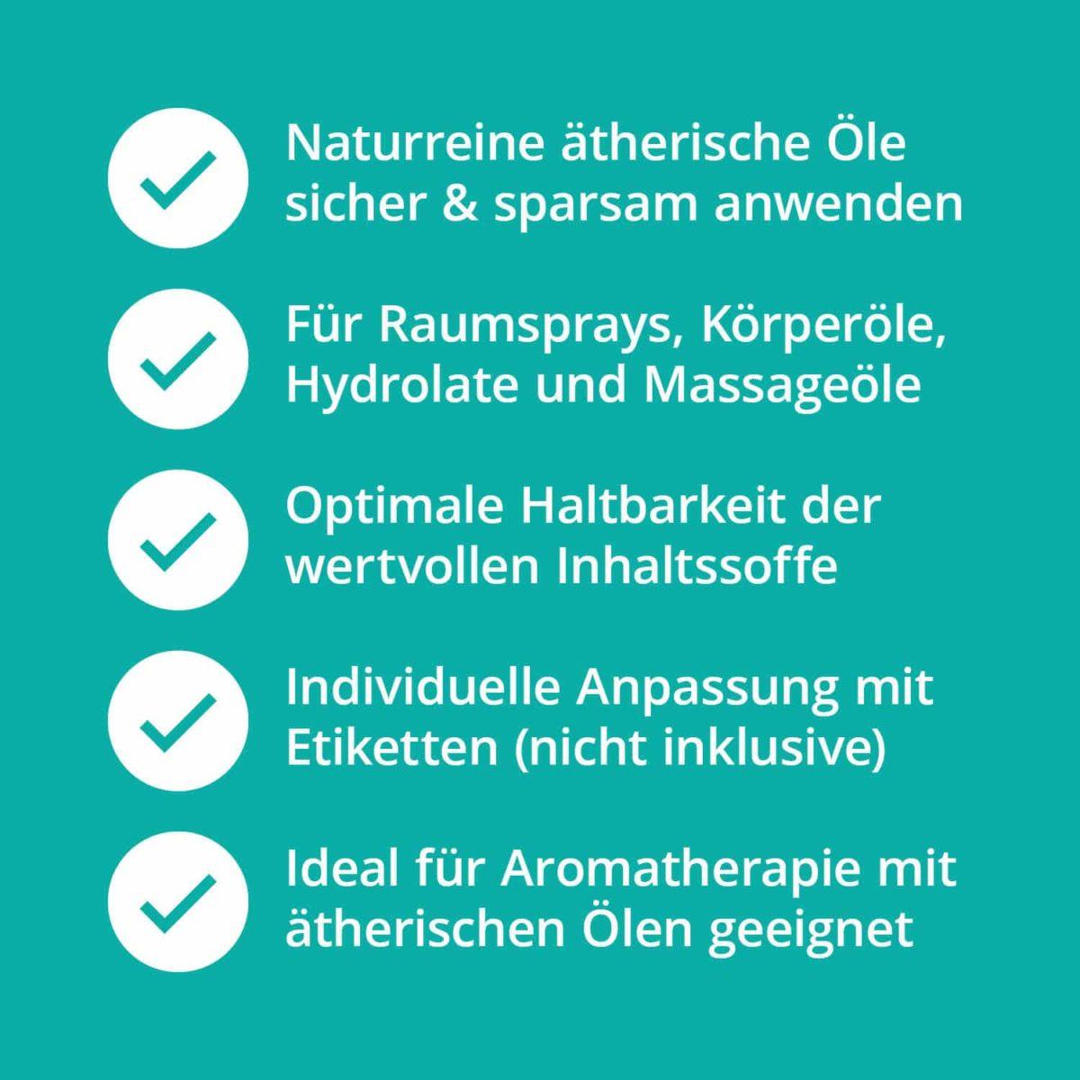 Casida Aromatherapie Profi Set A2058242 Roll On Sprühflasche 10 ml 20 ml 100 ml Tiegel Tropfflasche ätherische Öle Braunglas Blauglas7