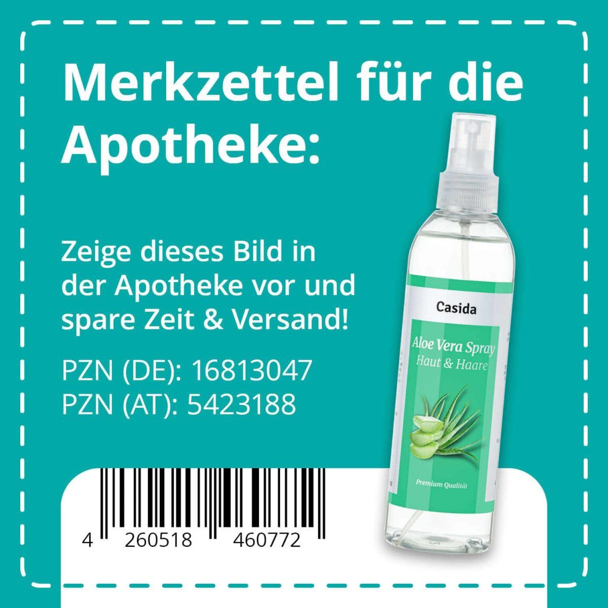 Casida Aloe Vera Spray Haut & Haare 200 ml PZN DE 16813047 PZN AT 5423188 UVP 12,95 € EAN 4260518460772