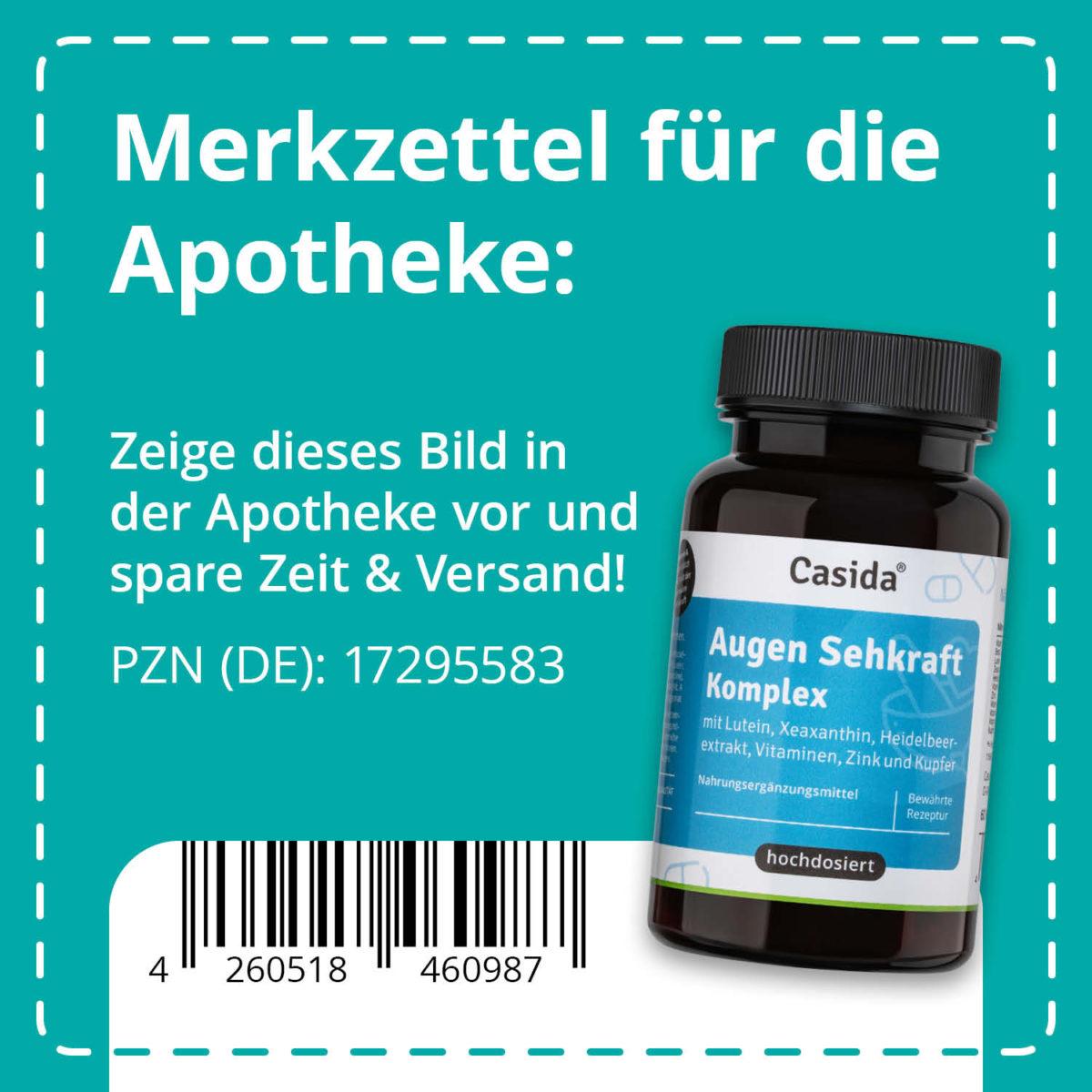 Casida Eye-Sight Complex - 60 capsules 17295583 PZN pharmacy Vitammin A C E B6 B2 Beta Carotine