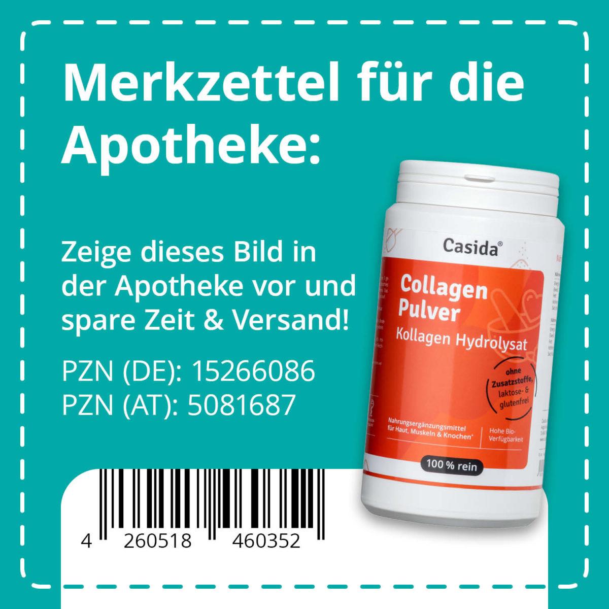Casida Collagen Pulver Hydrolysat Peptide 480 g PZN DE 15266086 PZN AT 5081687 UVP 28,45 € EAN 4260518460352